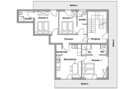 Grundriss unserer großzügigen Ferienwohnung in Flachau